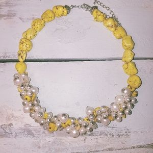 Lime Yellow Rock and Pearl Necklace Cowgirl